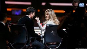 Judges Harry Connick Jr. and Jennifer Lopez are seen during the American Idol XIII 2014 Finale in Los Angeles, California