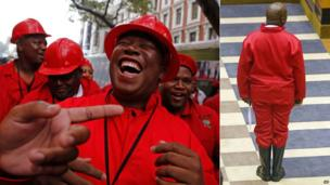 L: Julius Malema laughing R: Mr Malema being sworn in as an MP, wearing gumboots - Cape Town, South Africa - Wednesday 21 May 2014