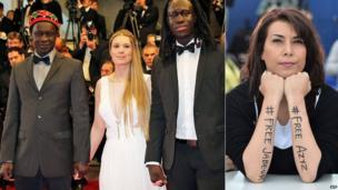 L: Senegalese director Moussa Toure (far left) his son and a guest in Cannes - Friday 16 May 2014 R: Tunisian cartoonist Nadia Khiari with slogans painted on her arms, Cannes, France - Monday 19 May 2014
