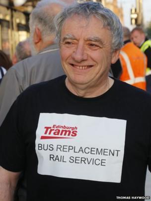 Man with Edinburgh Trams tee-shirt