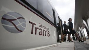 Edinburgh tram staff disembarking