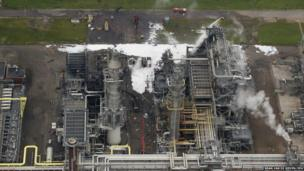 An aerial view of Shell Moerdijk chemical plant in Moerdijk, Netherlands