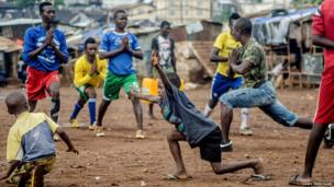 Young yoga participants in Sierra Leone