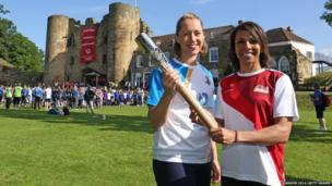 Lizzy Yarnold and Dame Kelly Holmes at Tonbridge Castle