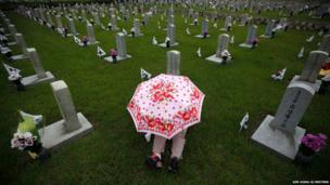 A woman holding an umbrella sits in front of the gravestone at the national cemetery in Seoul