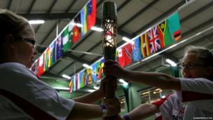 Children with the baton at a school in Folkestone