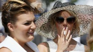 Racegoers on Ladies Day at the Epsom Derby Festival.