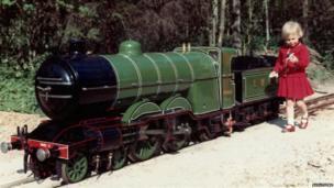 Miniature train and child in 1964