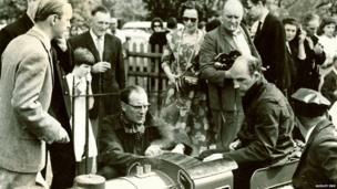 Racing driver Sir Stirling Moss and railway designer David Curwen