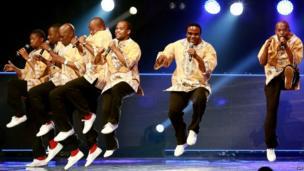 Ladysmith Black Mambazo singing and dancing on stage, Durban, South Africa - Sunday 8 June 2014