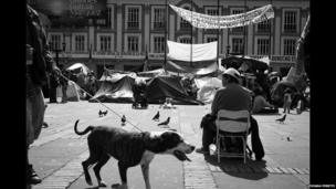 Displaced people camping in Plaza Bolivar in Bogota