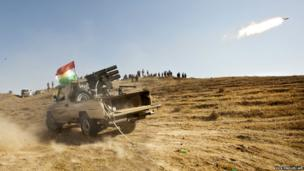 Kurdish Peshmerga forces fire missiles