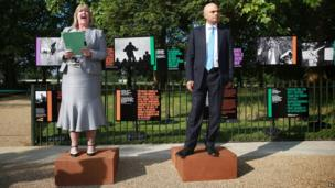 Chief Executive of The Royal Parks Linda Lennon and Secretary of State for Culture, Media and Sport Sajid Javid officially reopen Speakers' Corner in Hyde Park, London.
