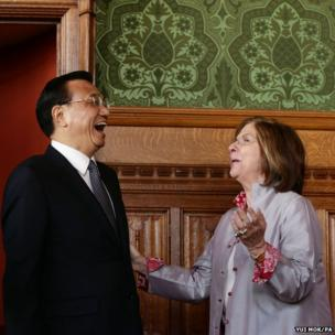 Chinese Premier Li Keqiang meets with the Lord Speaker Baroness D'Souza