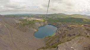 The zip wire across the Penrhyn quarry, Anglesey