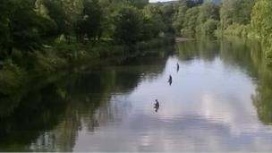 Fishermen in the River Taff