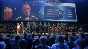 Team sky riders with Christopher Froome of Britain pose during the opening ceremony of the Tour de France cycling race in Leeds.