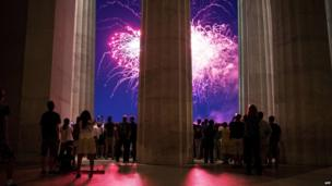 Fireworks seen from the Lincoln Memorial on the National Mall in Washington DC. 4 July 2014