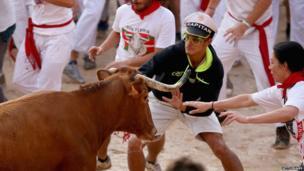 Bull run in Pamplona (7 July 2014)