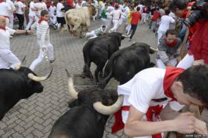 Bull run at the San Fermin festival in Pamplona, Spain