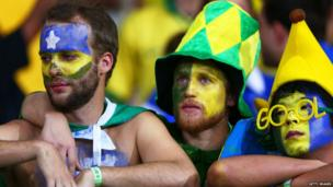 Brazil fans at Estadio Mineirao in Belo Horizonte, Brazil, July 8, 2014