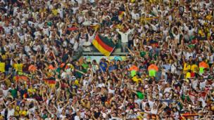Germany's fans at the Mineirao Stadium in Belo Horizonte, Brazil, July 8, 2014.