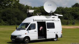 Satellite truck on school field