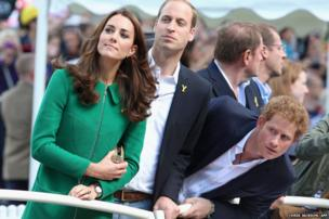 Duke and Duchess of Cambridge and Prince Harry watch the Tour de France