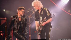 Singer Adam Lambert (left) performs with guitarist Brian May of Queen at Madison Square Garden in New York City