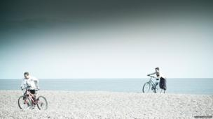 Cyclists on Aldeburgh beach