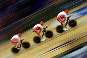 Sir Bradley Wiggins in the qualifying heat in the 4000m Team Pursuit