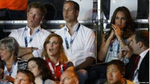 The royal trio watched a boxing bout between England's Scott Fitzgerald and Ghana's Azumah Mohammed. But the Duchess of Cambridge winced when the fight took a particularly brutal turn.