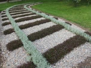 Plants laid out to look like a railway track