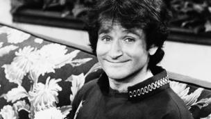 "This 1978 file photo originally released by ABC shows actor Robin Williams on the set of ABCs ""Mork and Mindy."""