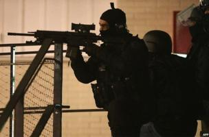 Armed police in Reims, northern France, early 8 January