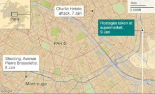 Map of Paris showing the locations of three deadly attacks in January 2015