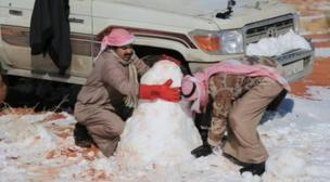 Bedouin shepherds made snowman