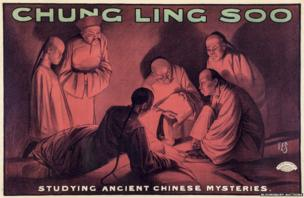 Studying ancient Chinese Mysteries, lithographic poster in colours, printed by James Upton Ltd.
