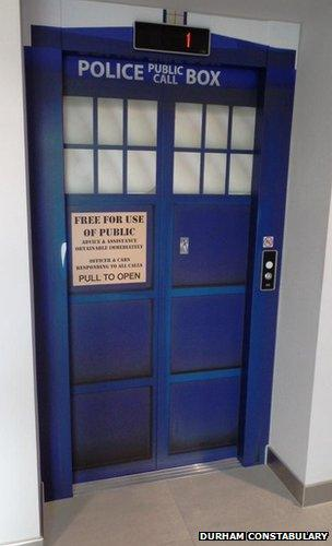 Tardis themed lift doors