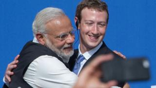 Indian Prime Minister Narendra Modi and Mark Zuckerberg