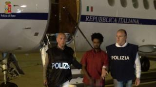 A police photo shows Mered Medhanie arriving on Italian soil (8 June)