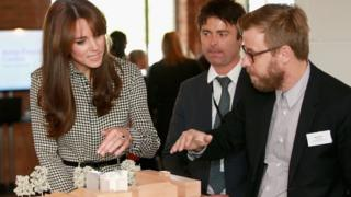The Duchess of Cambridge talking to charity staff