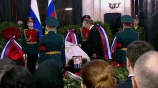 Sergei Lavrov during ceremony for Andrei Karlov (22 Dec)