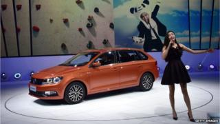 The VW Gran Santana car on display in Shanghai in April.