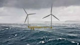 Illustration of planned floating wind turbines