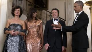 US President Barack Obama (right) and First Lady Michelle Obama (second left) with Italian Prime Minister Matteo Renzi and Italian First Lady Agnese Landini at the White House, 18 October 2016