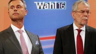 Presidential rivals Norbert Hofer (left) and Alexander Van der Bellen during a TV debate in Vienna, Austria, on 24 April 2016
