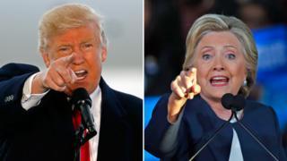 Donald Trump and Hillary Clinton at rallies - 4 November 2016