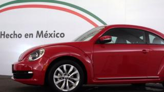 The new incarnation of Volkswagen's iconic car, the 'Beetle', is presented to the media at the auto factory in Puebla State, Mexico on July 15, 2011