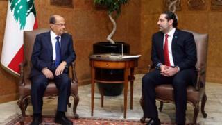Lebanese President Michel Aoun (L) meets Prime Minister Saad Hariri at the presidential palace in Baabda, east Beirut, Lebanon, 18 December 2016
